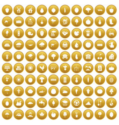 100 productiveness icons set gold vector