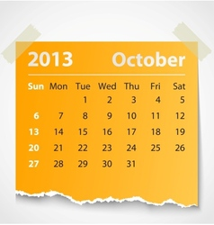 2013 calendar october colorful torn paper vector image
