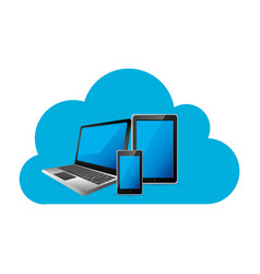cloud storage with set collection realistic tech vector image vector image