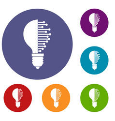 lightbulb with microcircuit icons set vector image vector image