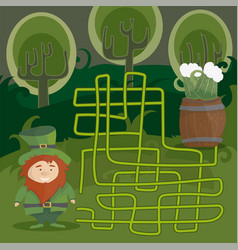 maze game for kids help red leprechaun to find vector image vector image