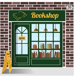 bookshop building facade of brown brick vector image vector image