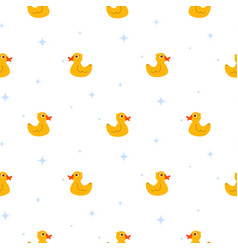 cute ducks float on pond white seamless vector image vector image