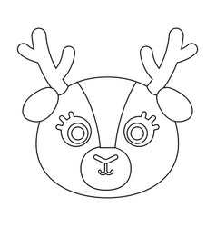 deer muzzle icon in outline style isolated on vector image vector image