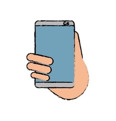 Hand holds smartphone sms chat technology sketch vector
