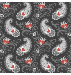 Hearts and paisley pattern vector image vector image
