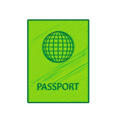 passport sign lemon scribble vector image