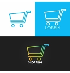 Shopping cart logo set background business market vector image vector image