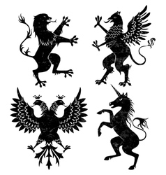 heraldic lion griffin eagle and unicorn vector image