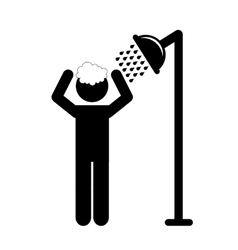 man taking shower vector image
