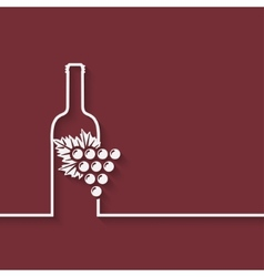 wine menu with bottle and grapes vector image