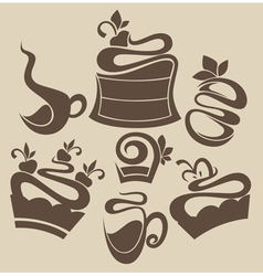 cakes and sweets silhouettes vector image vector image