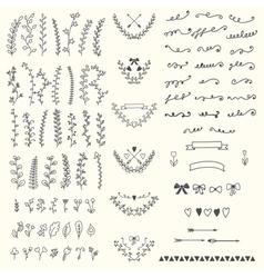 Hand Drawn vintage floral elements Handsketched vector image vector image