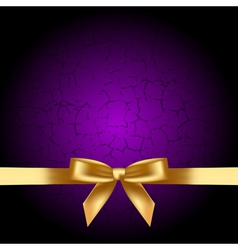 purple background with gold bow vector image vector image