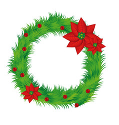realistic pine arch with poinsettia christmas vector image vector image