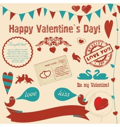 Valentines background with retro elements and vector image