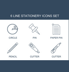 6 stationery icons vector image