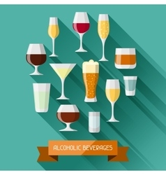 Alcohol drinks background design Glasses for vector image