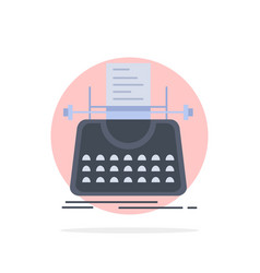 Article blog story typewriter writer flat color vector