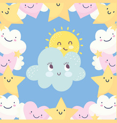 background clouds sun stars sky fantasy decoration vector image