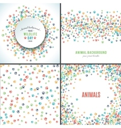 Background with paw prints Set of patterns vector image