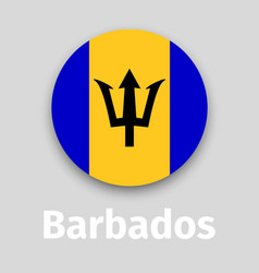 barbados flag round icon vector image