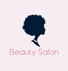 Beauty salon woman silhouette logo and text vector