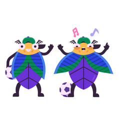 beetle boy football player character in flat vector image