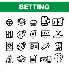 Betting football game collection icons set vector