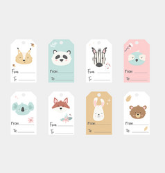 big set of tags and labels with hand drawn animals vector image