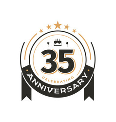 birtday vintage logo template to 35 th anniversary vector image