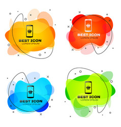 black shopping basket on screen smartphone icon vector image