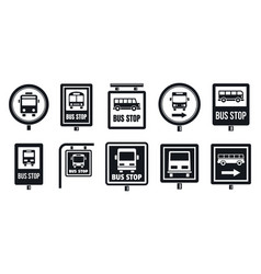 bus stop sign icon set simple style vector image
