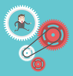 businessman moving cog wheels vector image