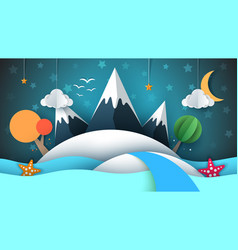 Cartoog paper island star mountain cloud moon vector