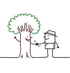 Cartoon smiling tree-man shaking hands vector