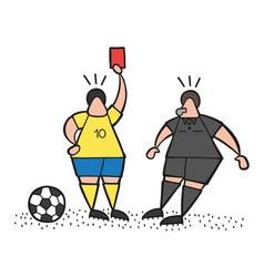 cartoon soccer player man showing red card to vector image