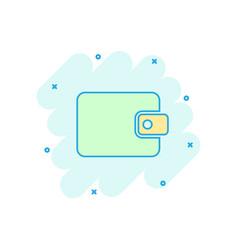 cartoon wallet icon in comic style money purse vector image