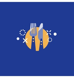 Catering logo knife and fork items vector