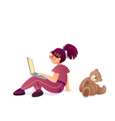 child internet addiction girl with laptop vector image