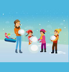 children in winter clothes sculpt snowman vector image