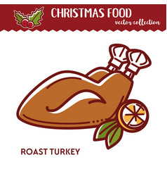 christmas food roast turkey with lemon fried vector image