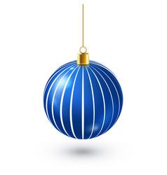christmas tree shiny blue ball new year vector image