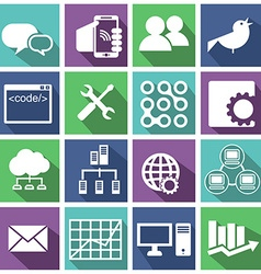 Computer technology icons set vector