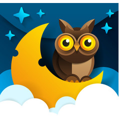 cute cartoon owl sits on the slumbering crescent vector image