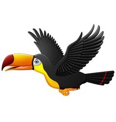Cute cartoon toucan bird flying vector