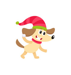 Cute dog character playing throwing snowball vector