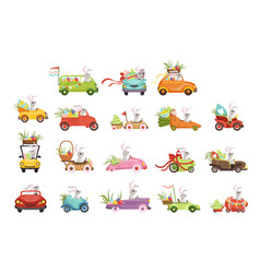 cute little bunnies driving vintage car vector image