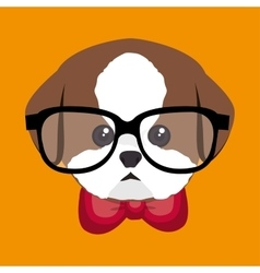 Cute portrait doggy icon design vector