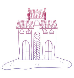 degraded outline horror castle building vector image
